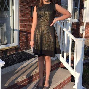 black and gold short dress sleeveless v back